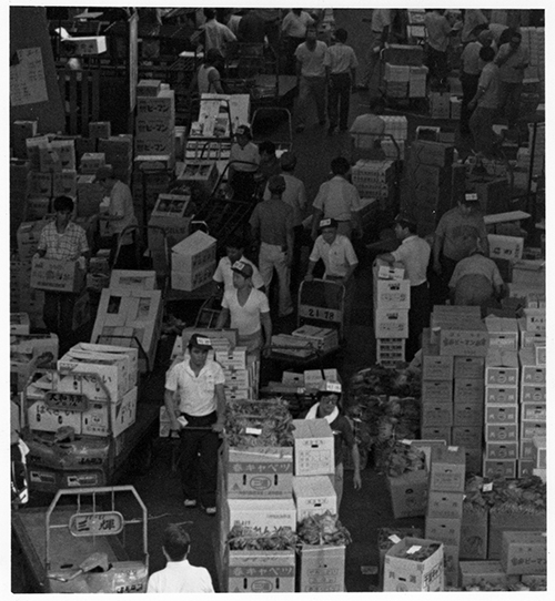 セリが終わり、商品の搬出で混み合う市場内