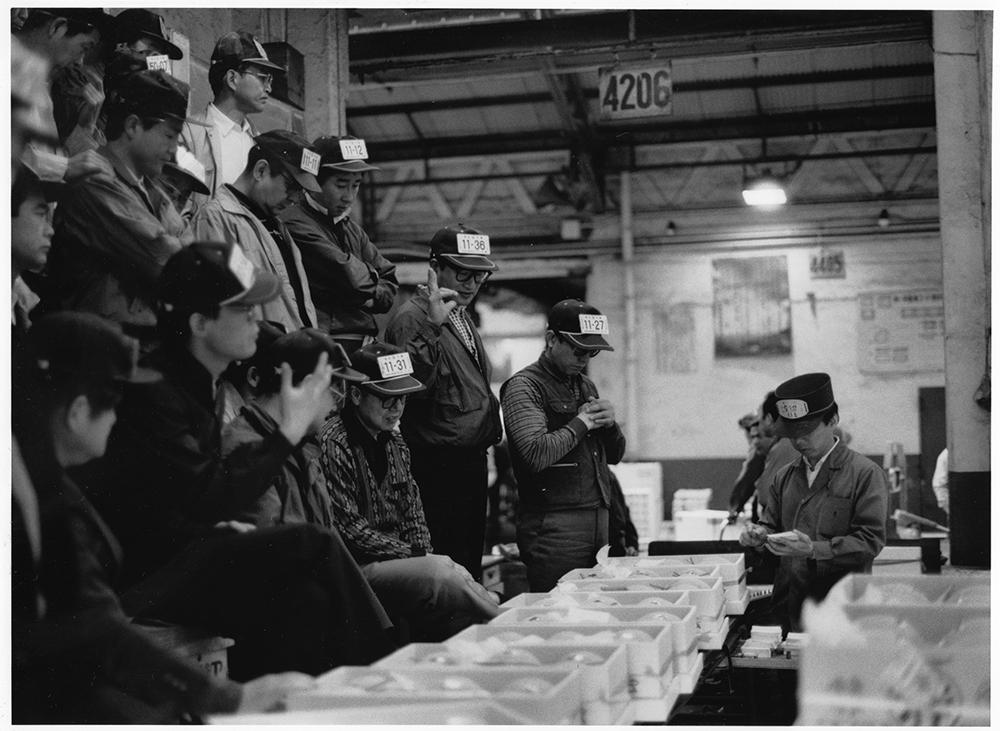神田市場の名物競売の一つ、温室メロンの固定競売。ふたをあけられ、ひとケース、ひとケース、ローラーでゆっくり流される。買受人の目の前で、ネット、色あい、店の取り引き状況などを一瞬に判断し、ヤリを出し、セリ人がセリ落とす。延々1時間、2千ケース。サンプル競売が主流となった市場で、こうした現物ゼリは儀礼的でなく、躍動感があり、セリ本来の醍醐味を味わえる。荷主は神田でセッて、高値を出してもらうことが勲章であり、誇り。「神田」が彼らを育ててきた